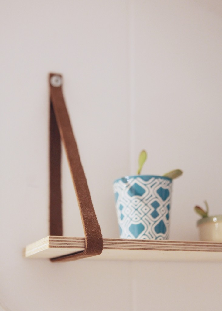 succulent scandinavian planter shelf leather